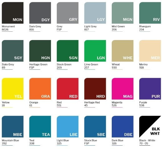 Locker Colour chart